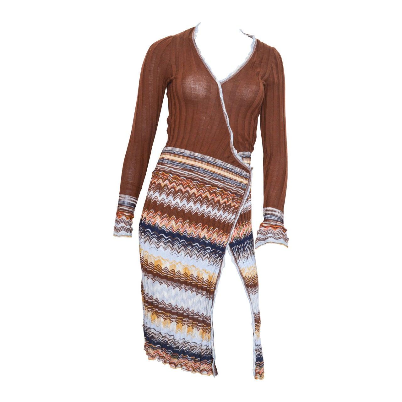 M Missoni Chevron Wrap Knit Dress