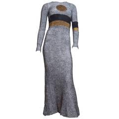 1970s Rudi Gernreich Metallic Dot Gown