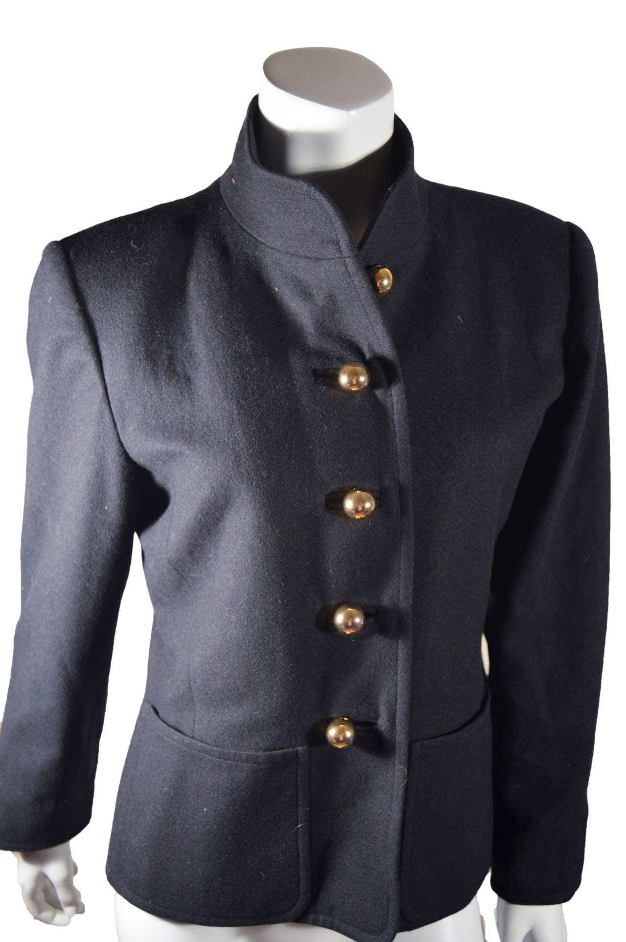 Black Yves Saint Laurent Rive Gauche Gold Button Coat For Sale