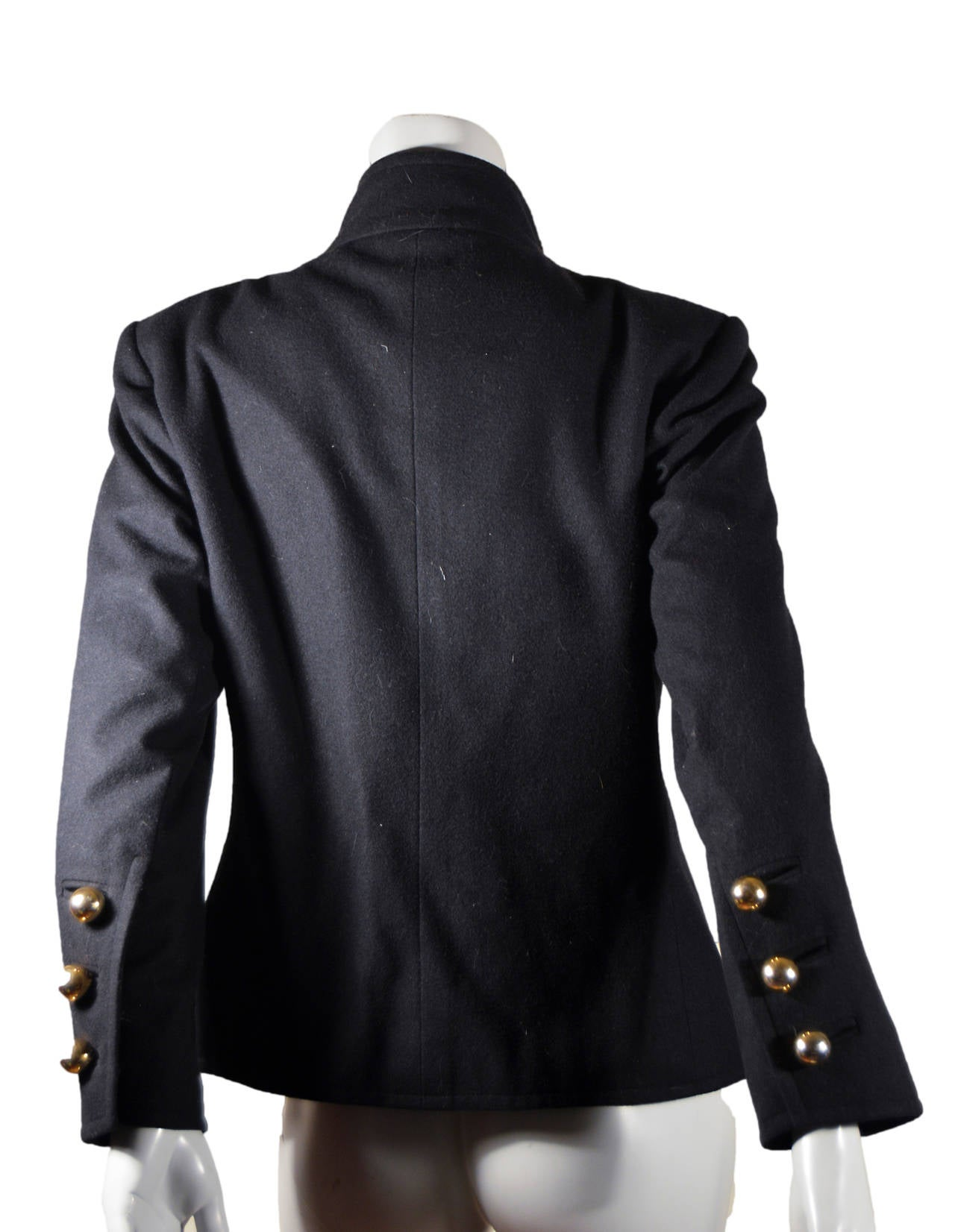 Yves Saint Laurent Rive Gauche Gold Button Coat In Excellent Condition For Sale In San Francisco, CA