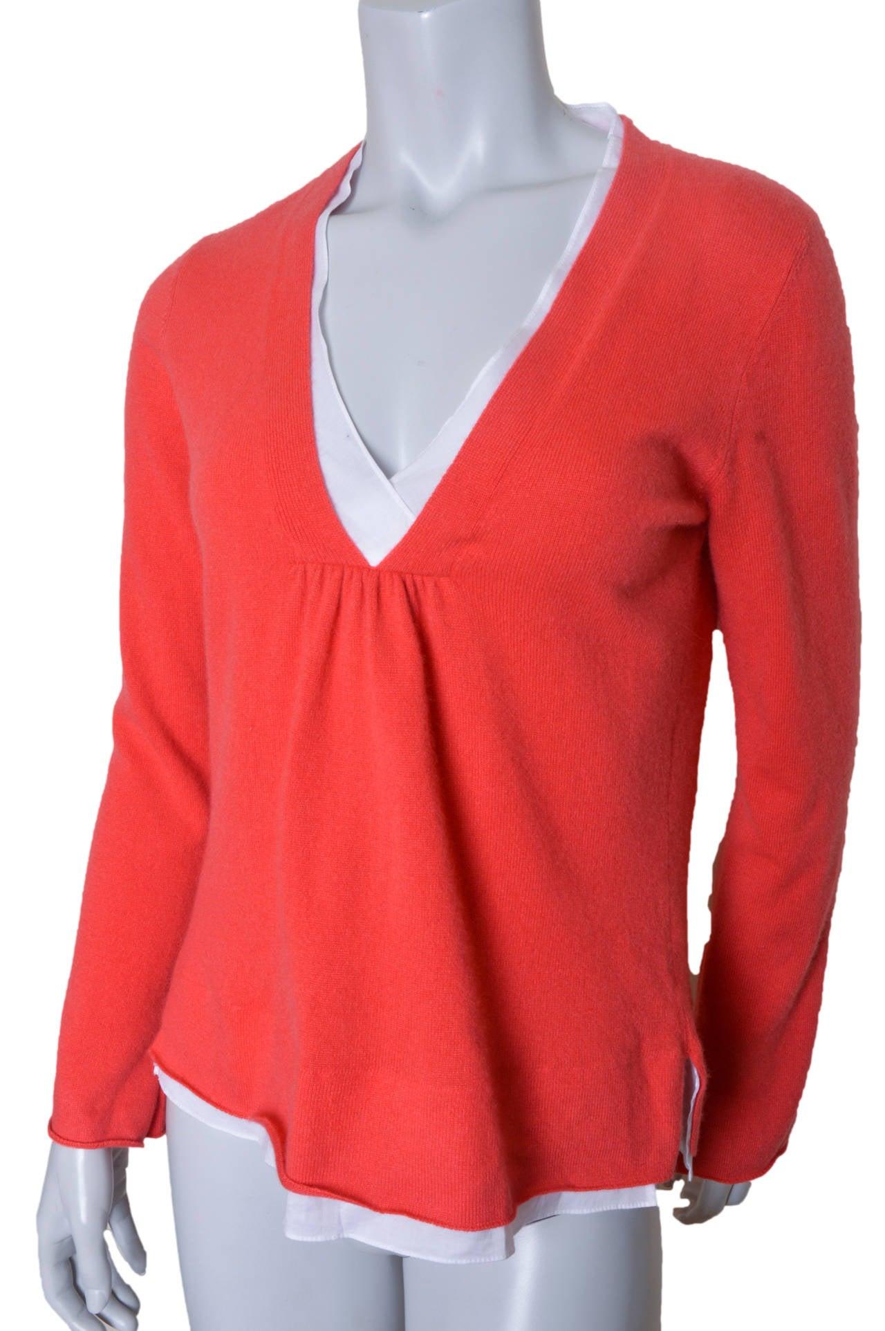 Brunello Cucinelli Orange Cashmere Sweater In Excellent Condition For Sale In San Francisco, CA