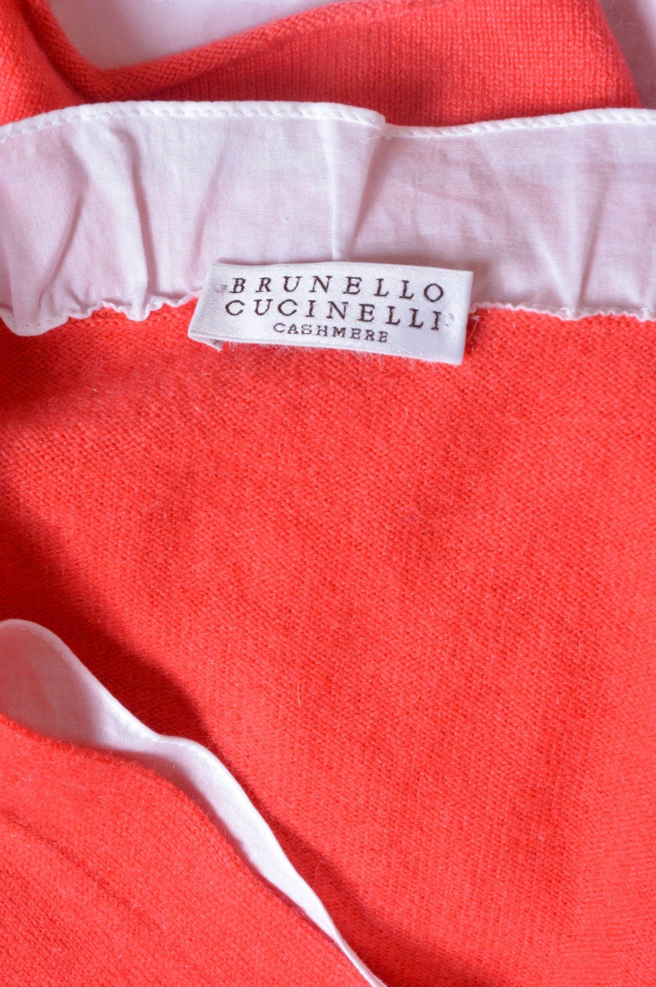 Women's Brunello Cucinelli Orange Cashmere Sweater For Sale