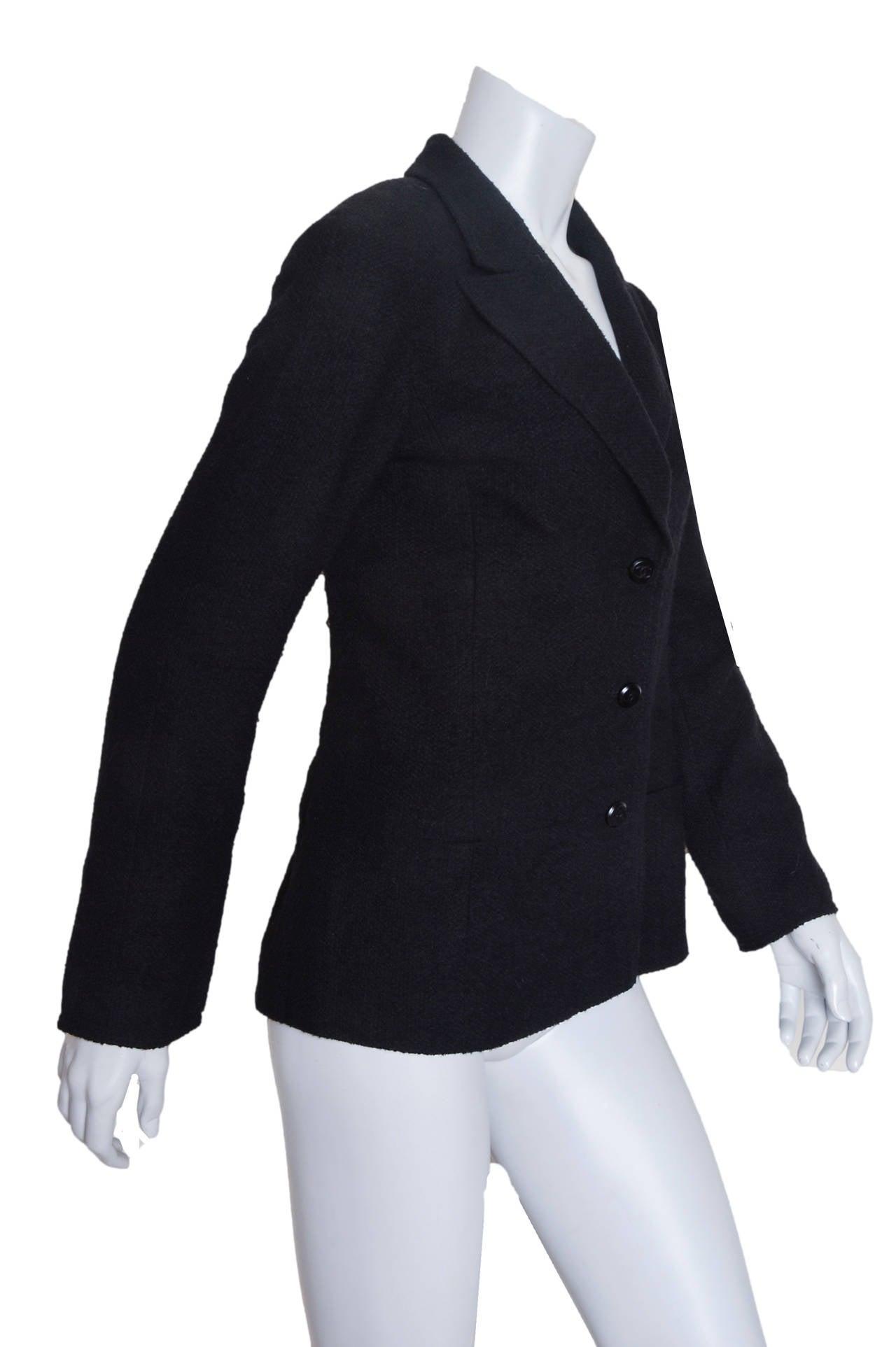 Chanel Black Boucle Blazer 2