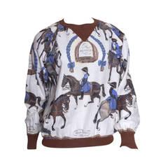 Hermes Equestrian Scarf Print Blouse