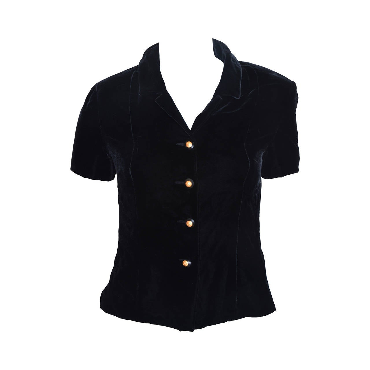 Chanel Boutique Black Velvet Formal Top 1