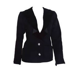 Yves Saint Laurent Rive Gauche Black Wool and Velvet Blazer