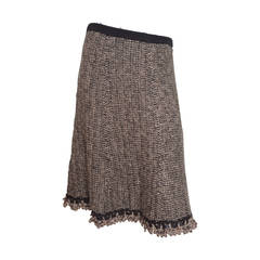 Chanel Woven Knit Skirt with Crochet Trim