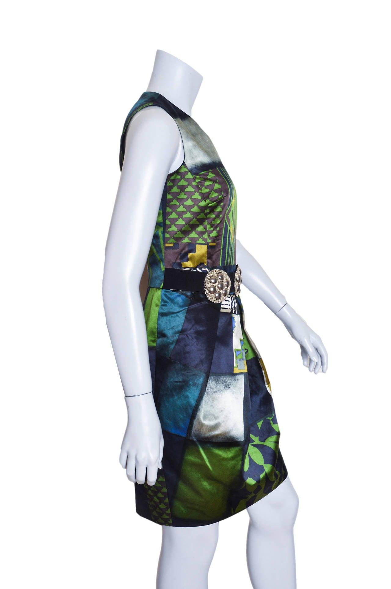 Black Etro Geometric Print Satin Dress with Medallion Belt For Sale