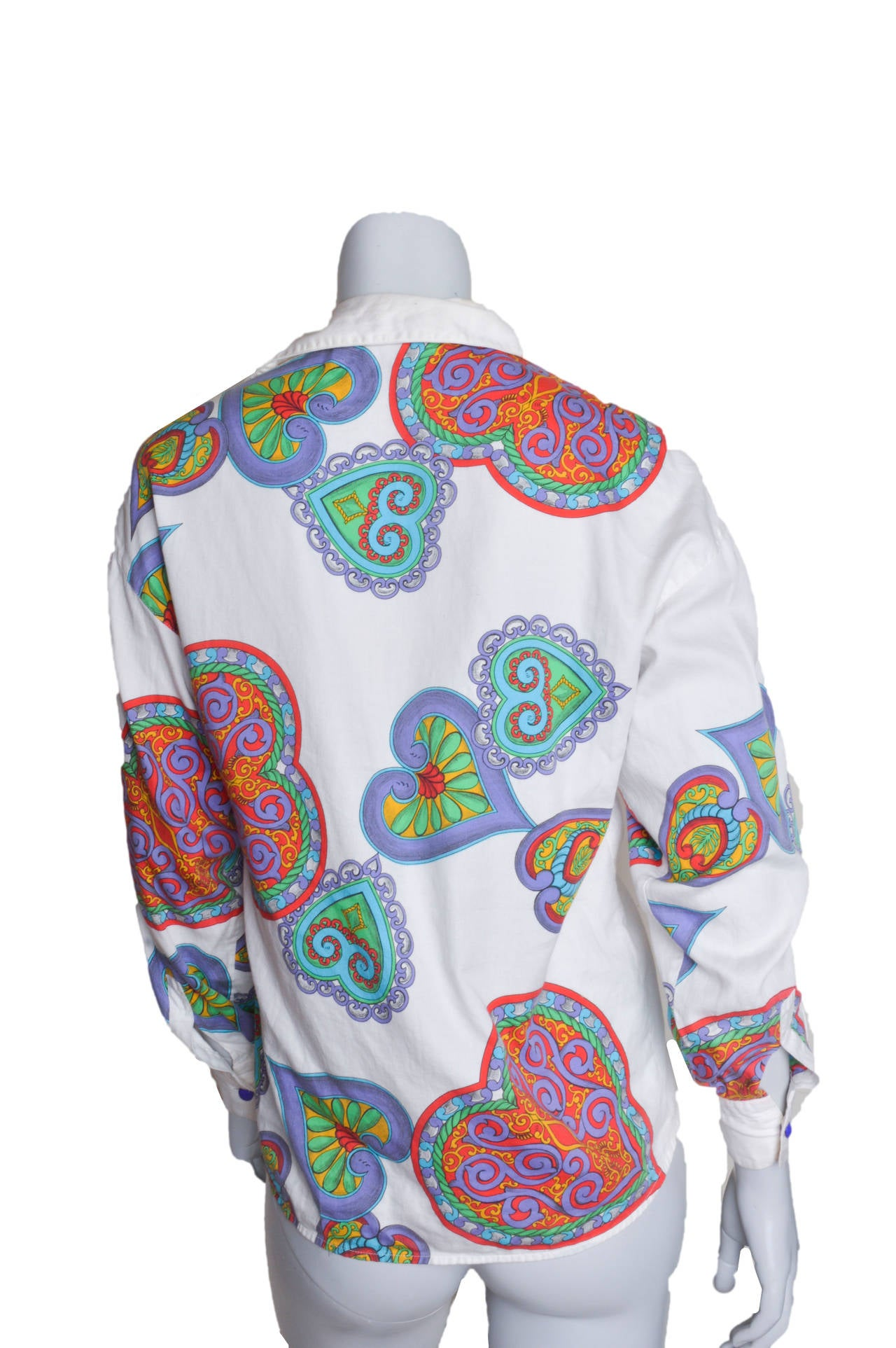 Versace Versus Scarf Print Hearts Blouse In Excellent Condition For Sale In San Francisco, CA
