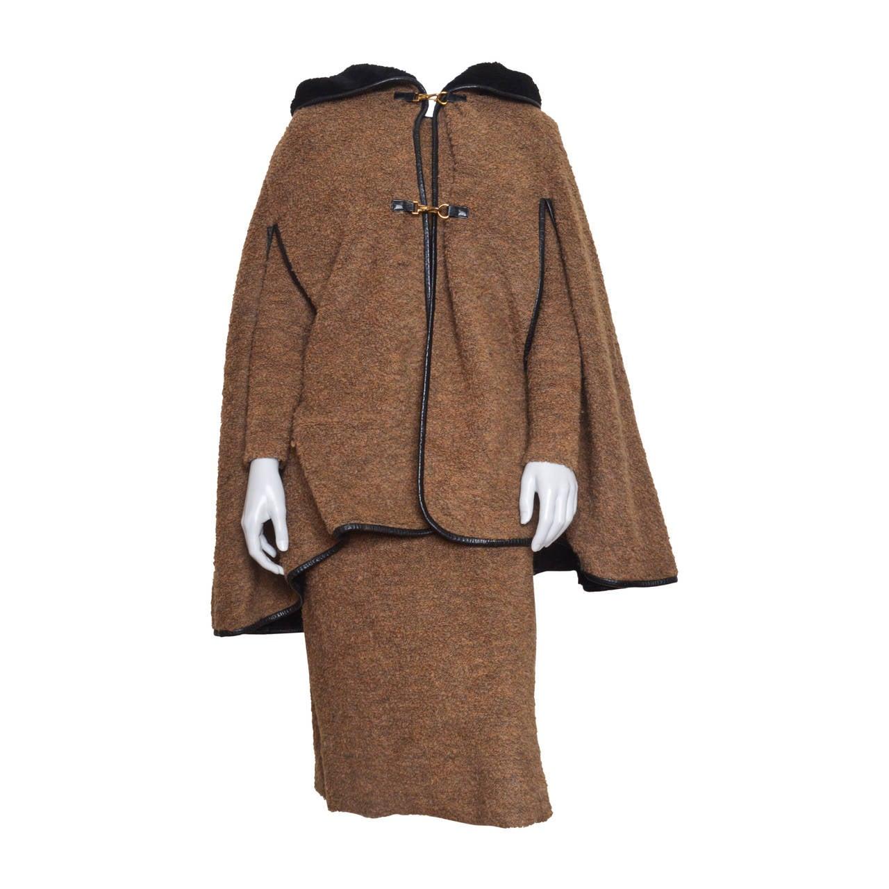 Bonnie Cashin Camel Boucle Dress and Cape Set