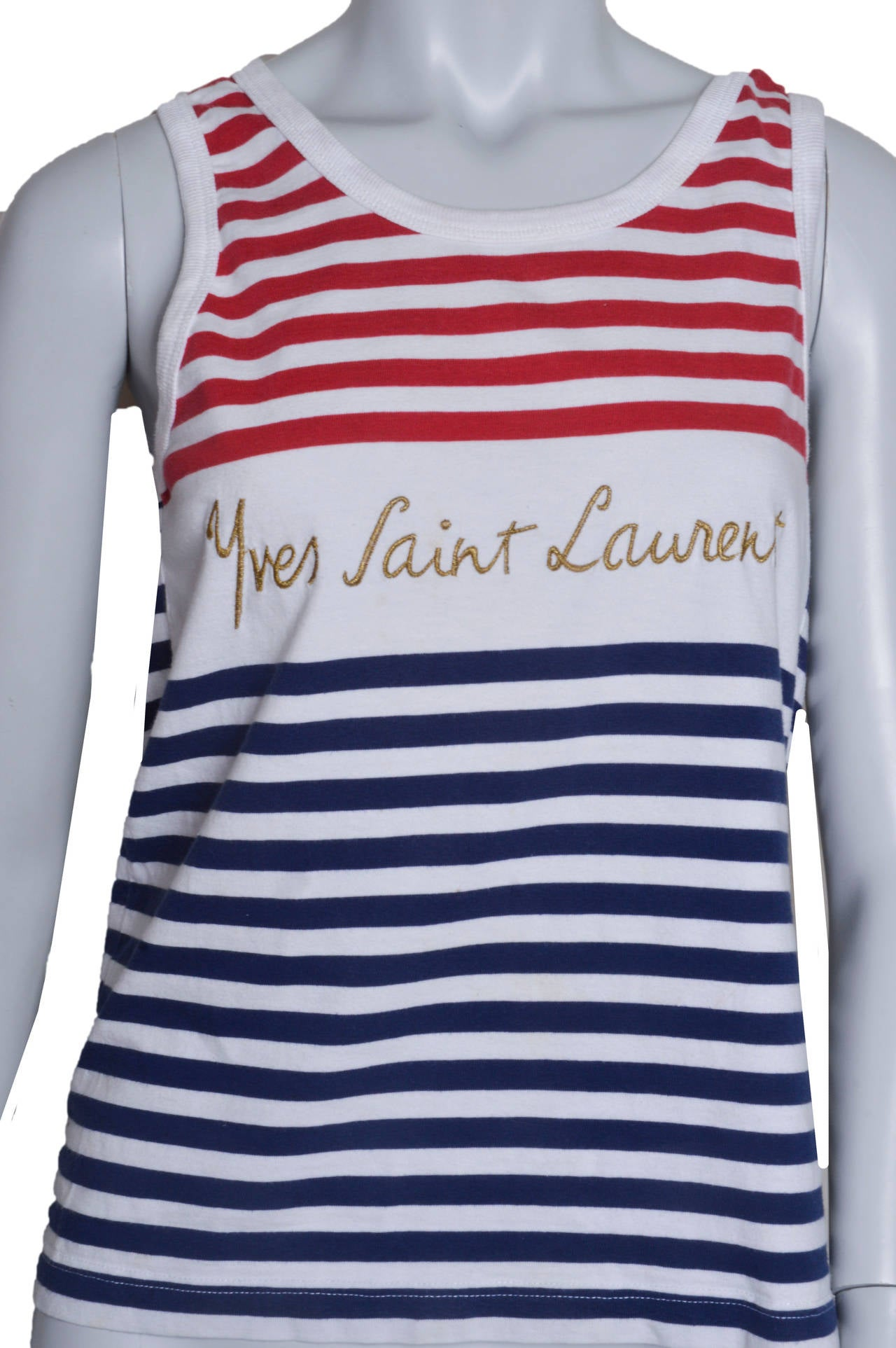 Gray Yves Saint Lauren Variation Striped Signature Tank For Sale