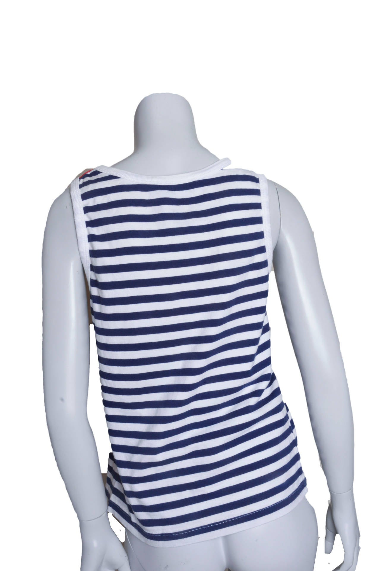 Yves Saint Lauren Variation Striped Signature Tank In Excellent Condition For Sale In San Francisco, CA