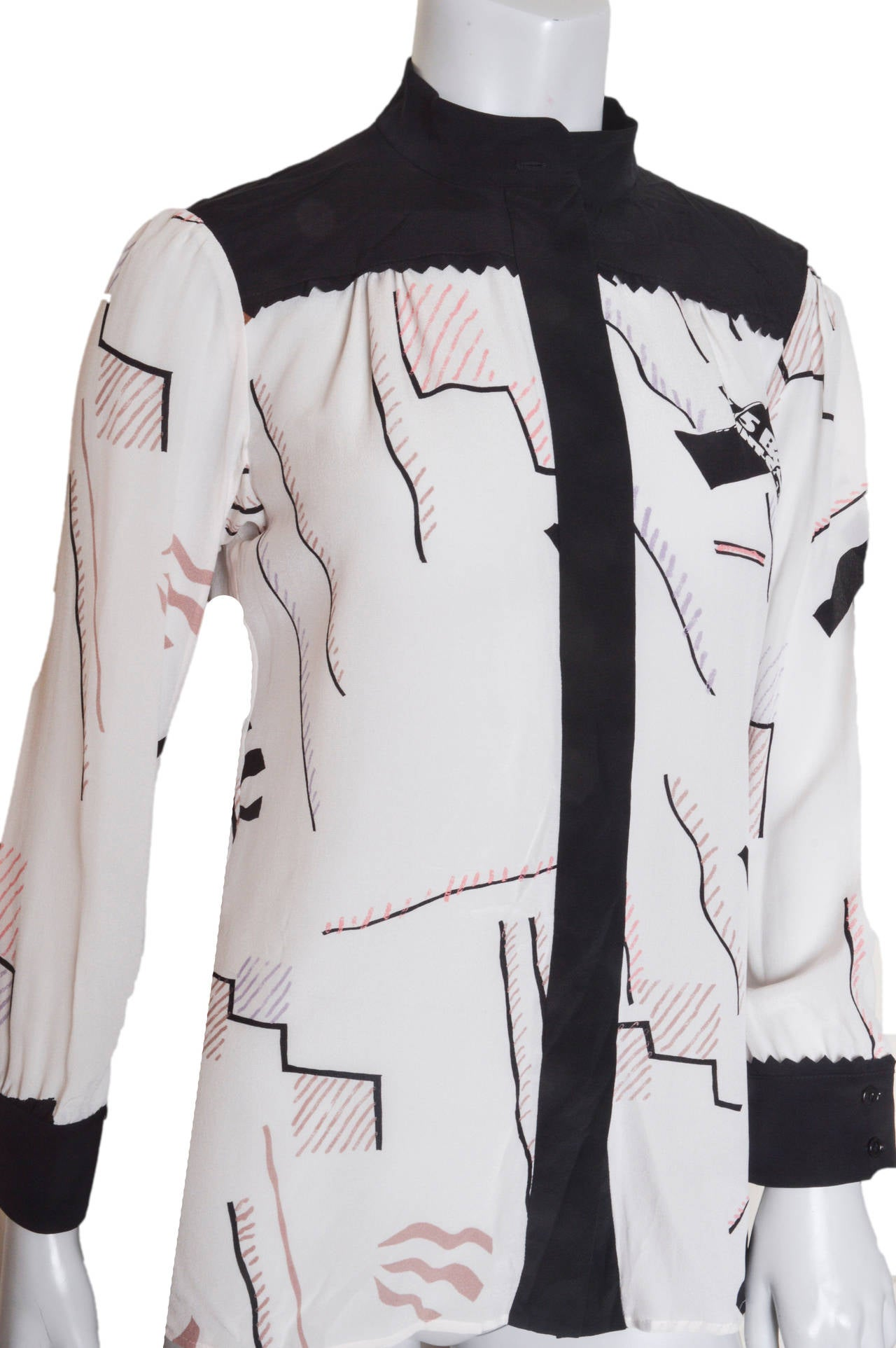 Striking Sonia Rykiel geometric print blouse.