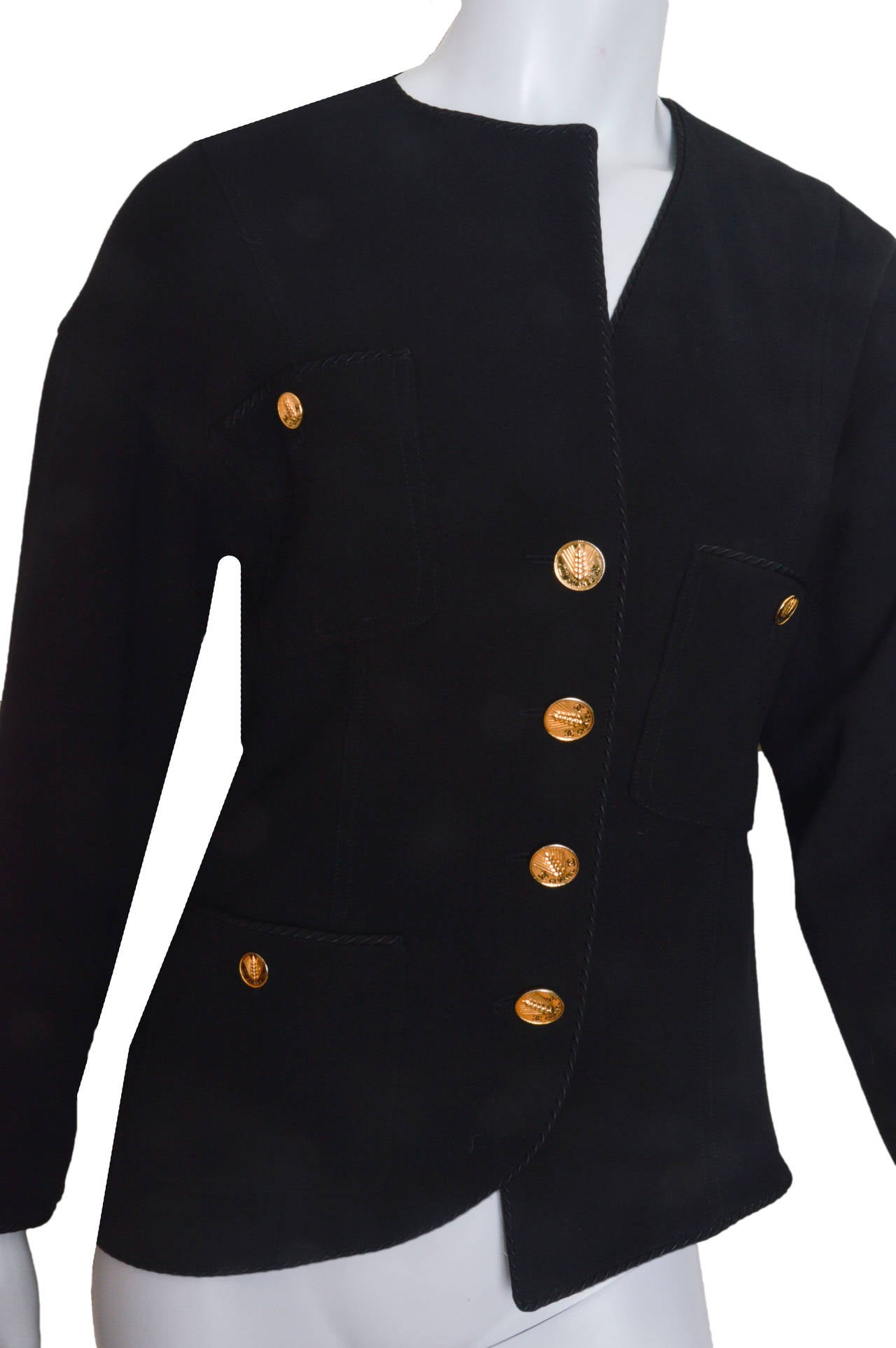 Chanel Black Asymmetrical Jacket In Excellent Condition For Sale In San Francisco, CA