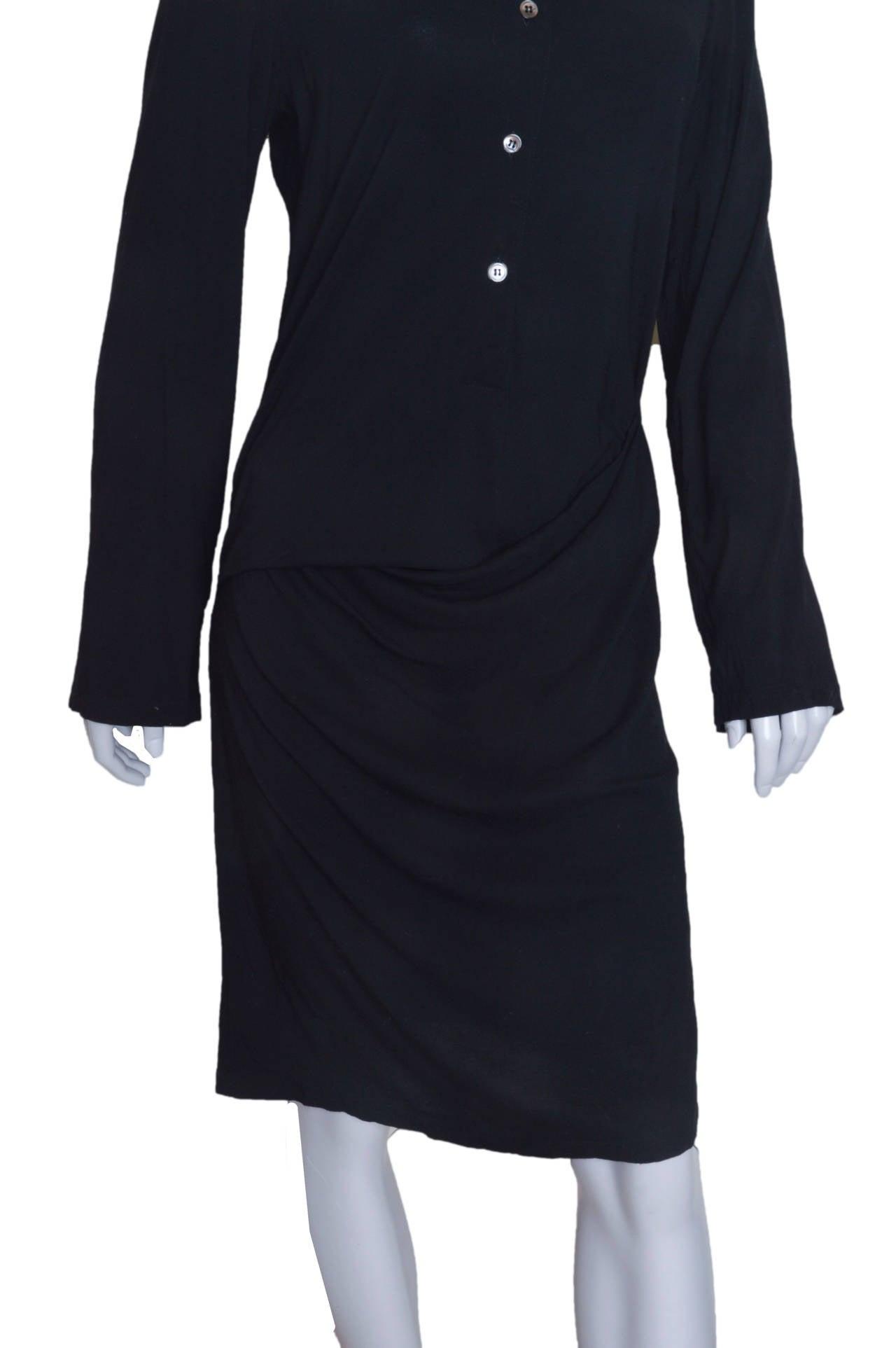 Ann Demeulemeester Asymmetrical Black Shirt Dress 4