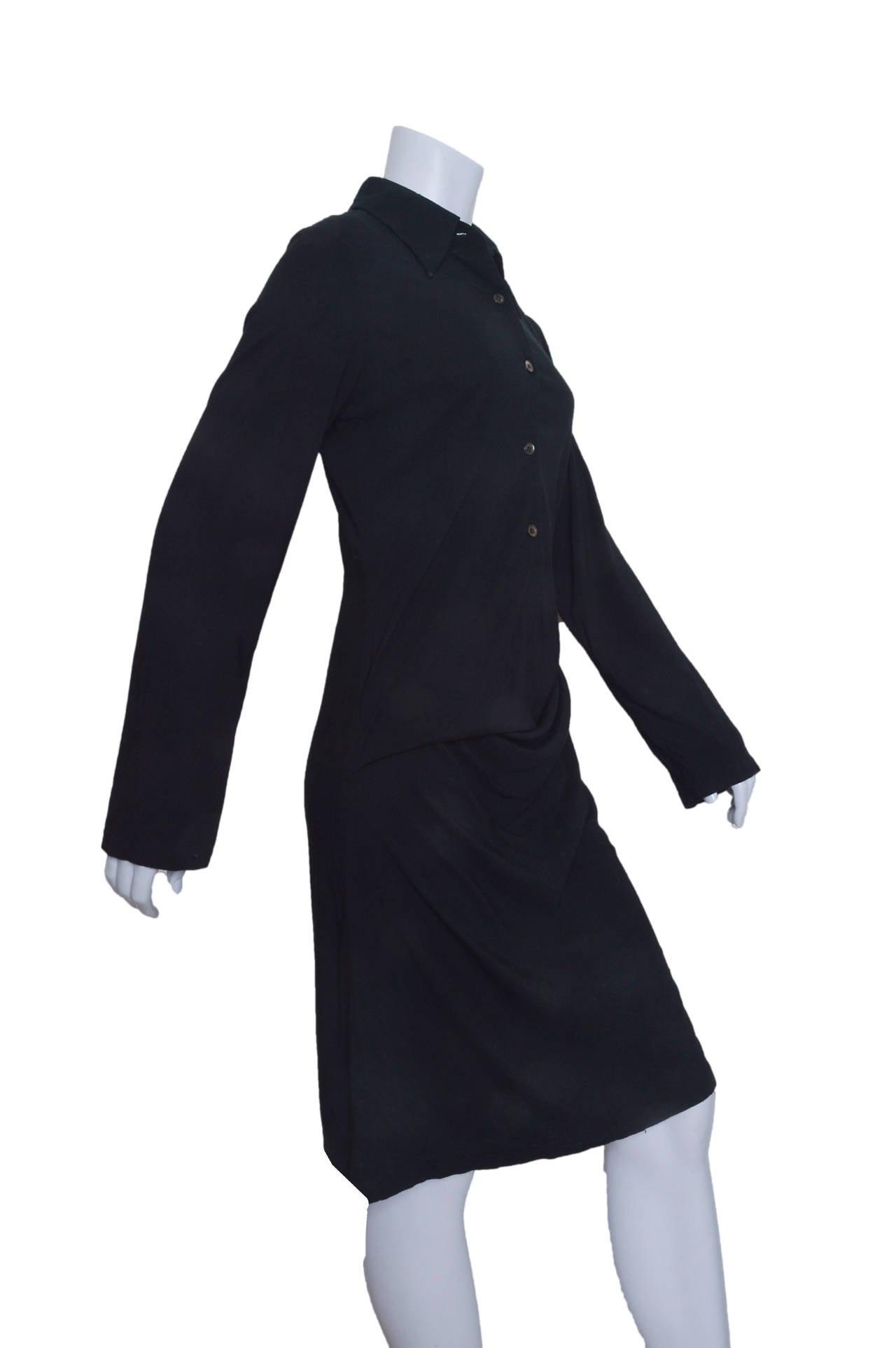 Ann Demeulemeester Asymmetrical Black Shirt Dress 2
