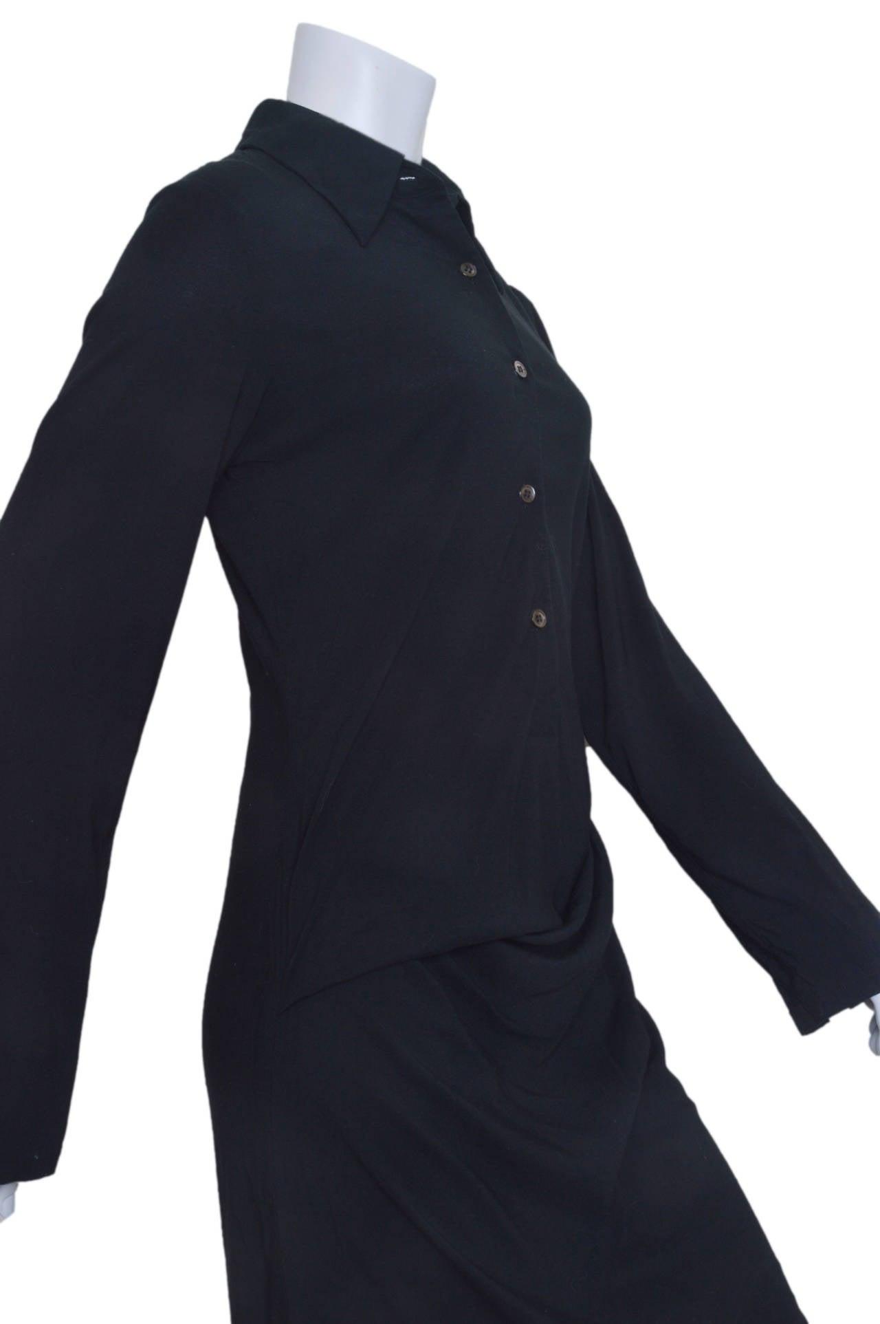 Ann Demeulemeester Asymmetrical Black Shirt Dress 5