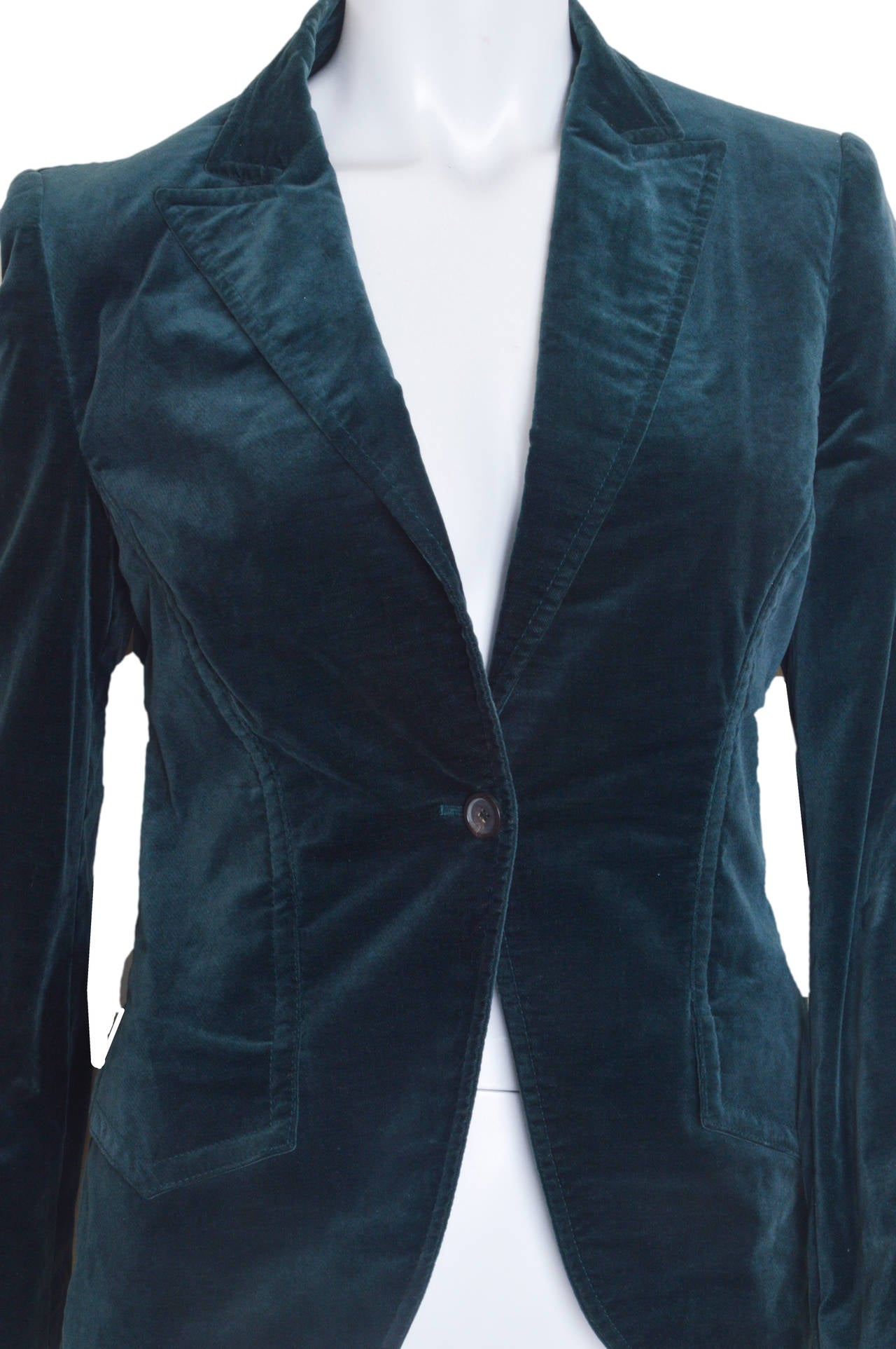 Women's Gucci Forest Green Velvet Blazer For Sale