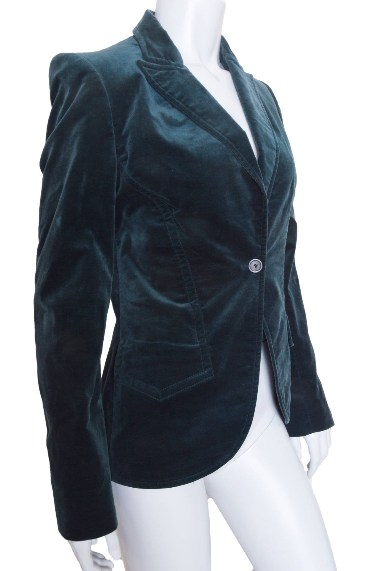 Gucci Forest Green Velvet Blazer In Excellent Condition For Sale In San Francisco, CA