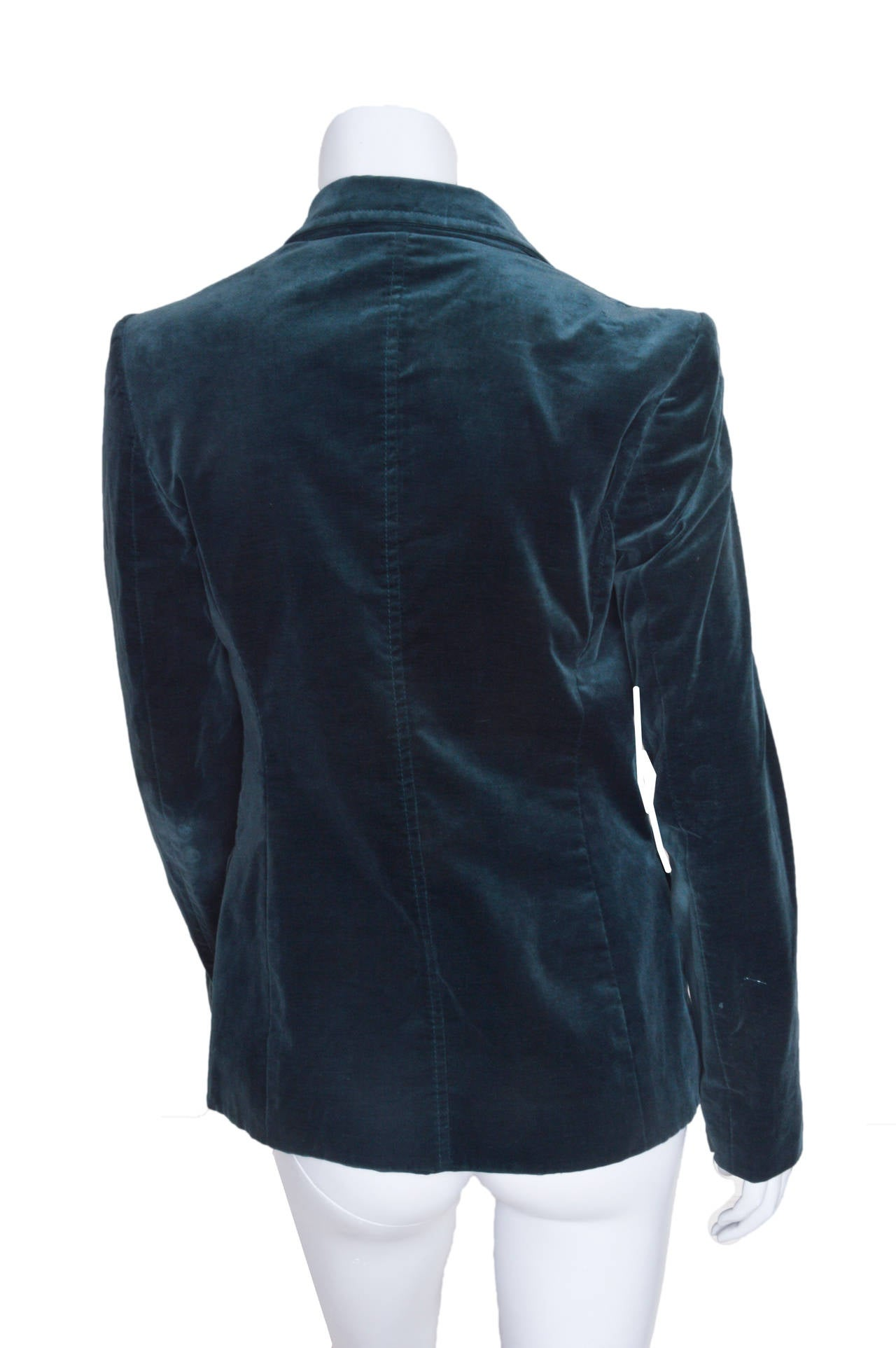 Black Gucci Forest Green Velvet Blazer For Sale