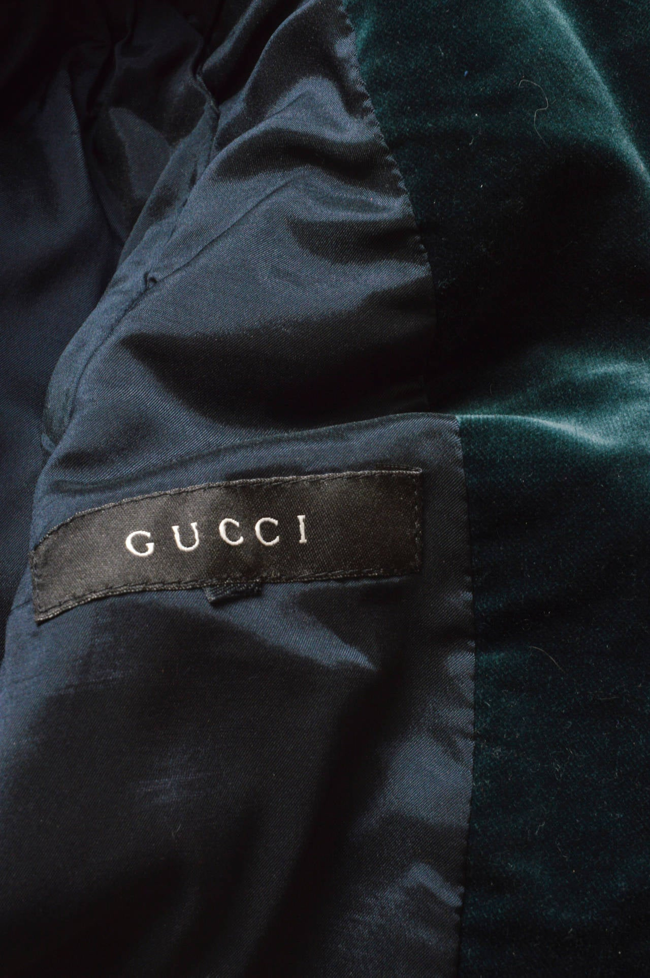 Gucci Forest Green Velvet Blazer For Sale 1