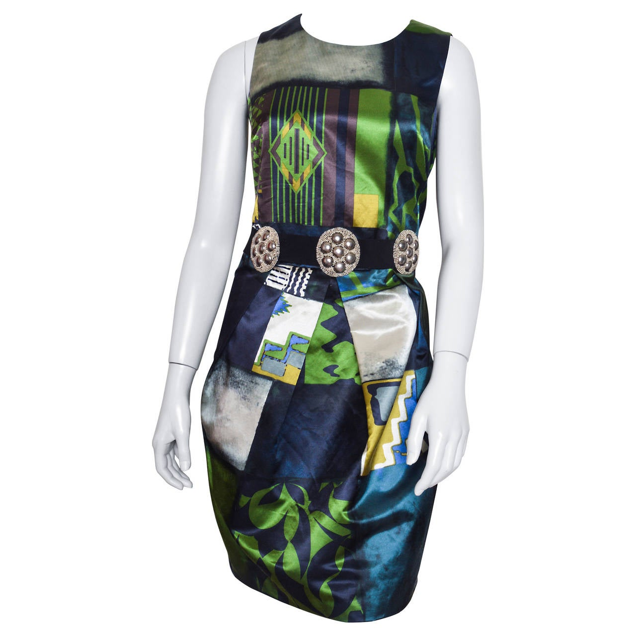 Etro Geometric Print Satin Dress with Medallion Belt