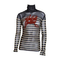 Jean Paul Gaultier Striped Mesh Top with Signature Embroidery