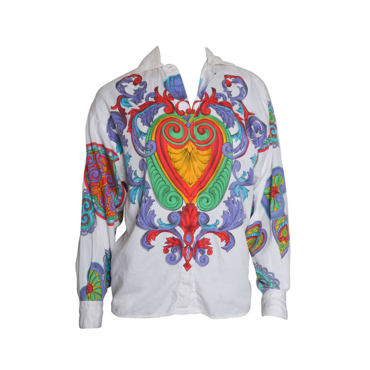 Versace Versus Scarf Print Hearts Blouse For Sale