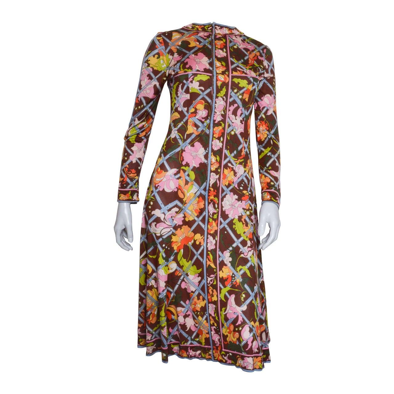 Emilio Pucci Brown Floral Print Silk Dress