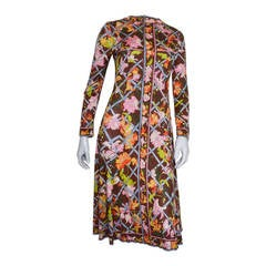Emilio Pucci Brown Floral Print Silk Dress