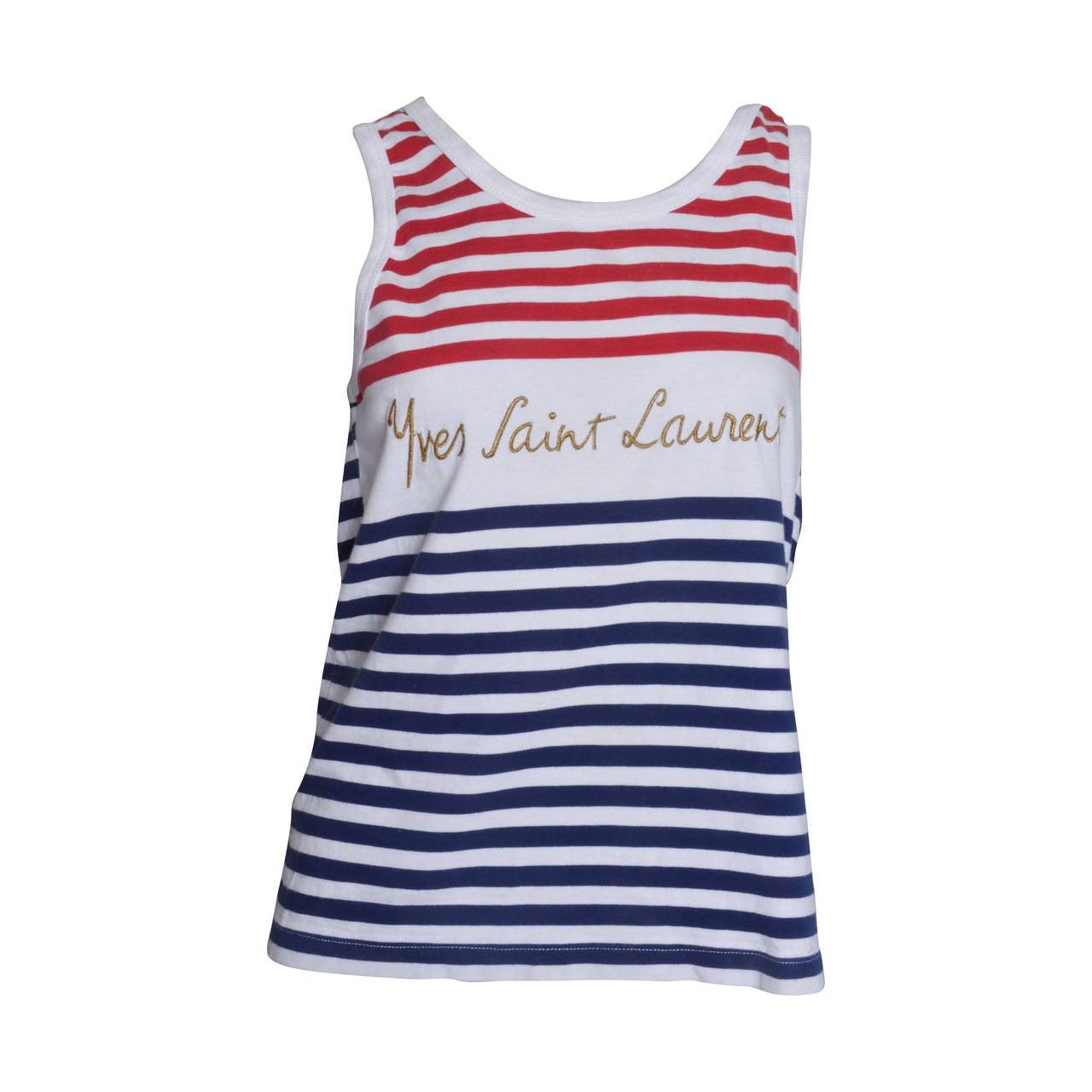 Yves Saint Lauren Variation Striped Signature Tank 1