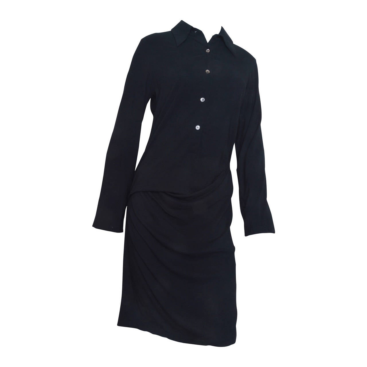 Ann Demeulemeester Asymmetrical Black Shirt Dress