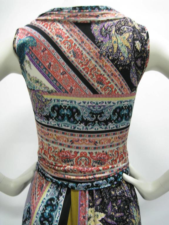 Etro Empire Waist Graphic Print Sleeveless Dress In Excellent Condition For Sale In San Francisco, CA