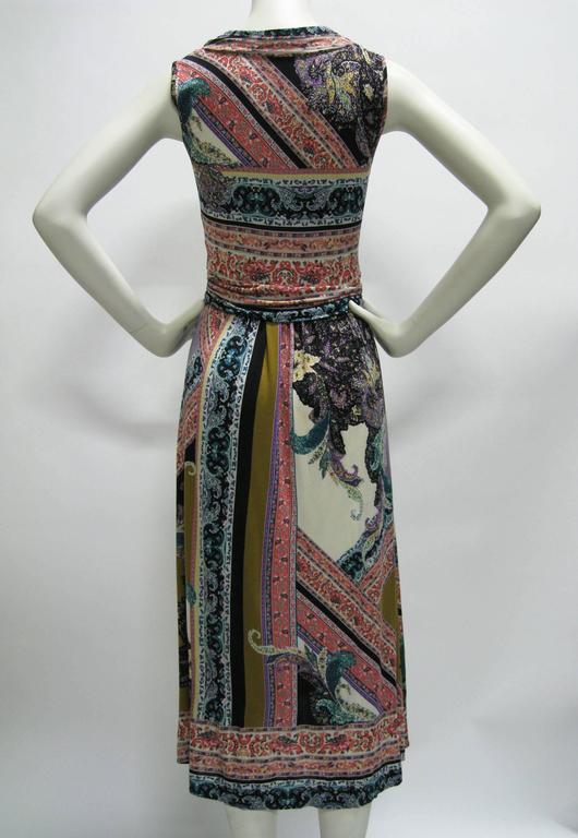 Etro Empire Waist Graphic Print Sleeveless Dress For Sale 1