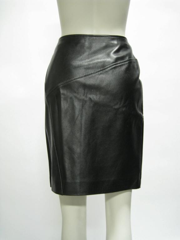 Gucci Leather Pencil Slit Skirt 4