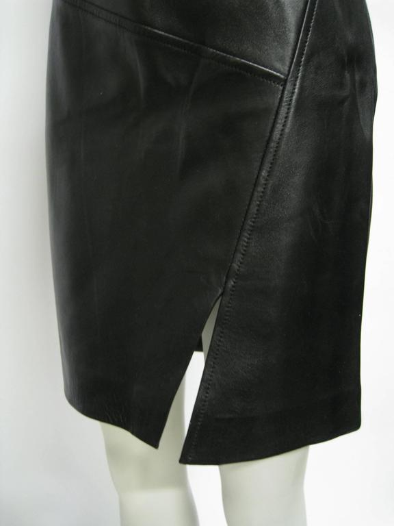 Gucci Leather Pencil Slit Skirt 3