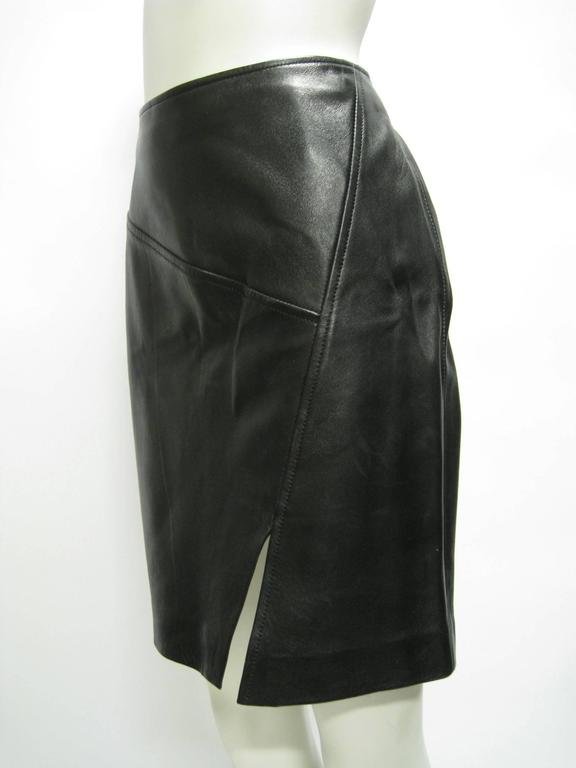 Gucci Leather Pencil Slit Skirt 2