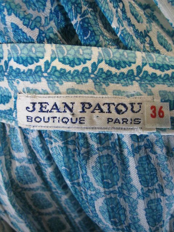 Jean Patou Silk Chiffon Print Dress For Sale 3