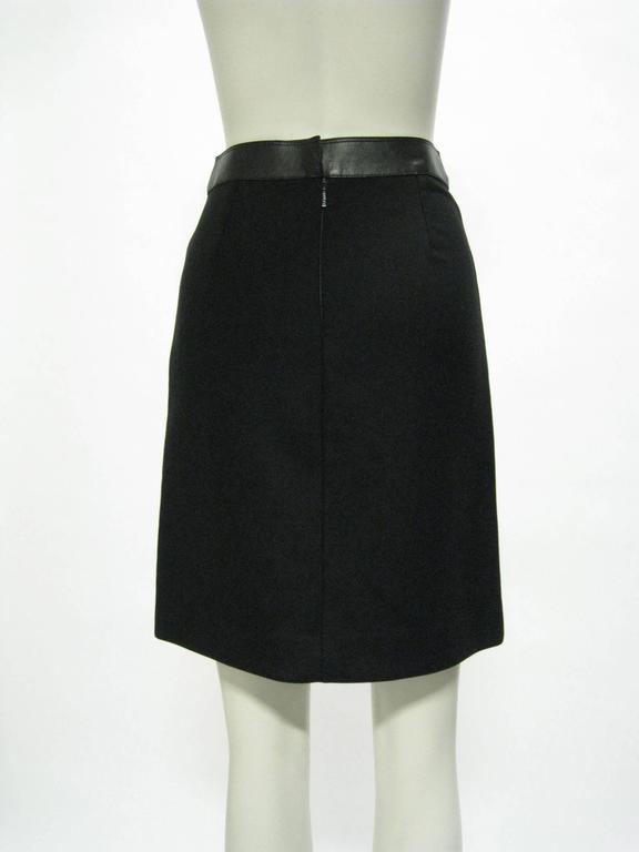 Gucci Black Wool and Leather Pencil Skirt 4