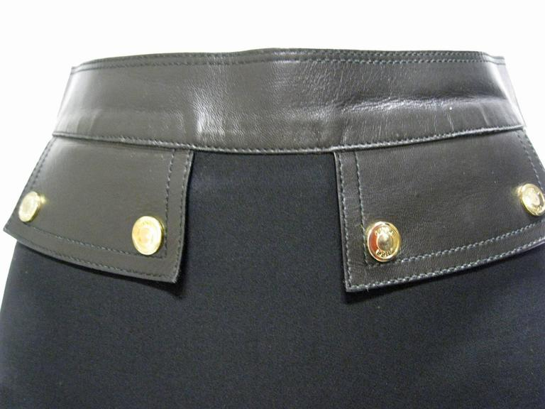 Gucci Black Wool and Leather Pencil Skirt 3