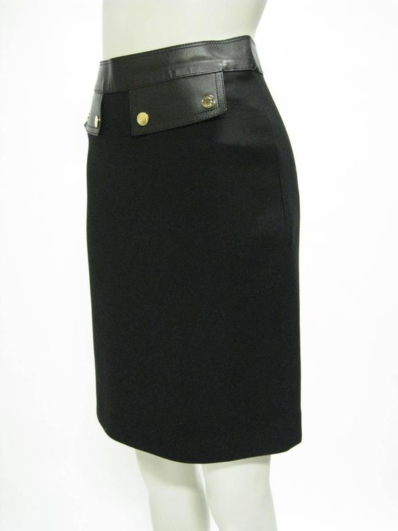 Gucci Black Wool and Leather Pencil Skirt 2