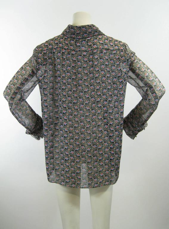Chanel Sheer Silk Chiffon Printed Blouse For Sale 3