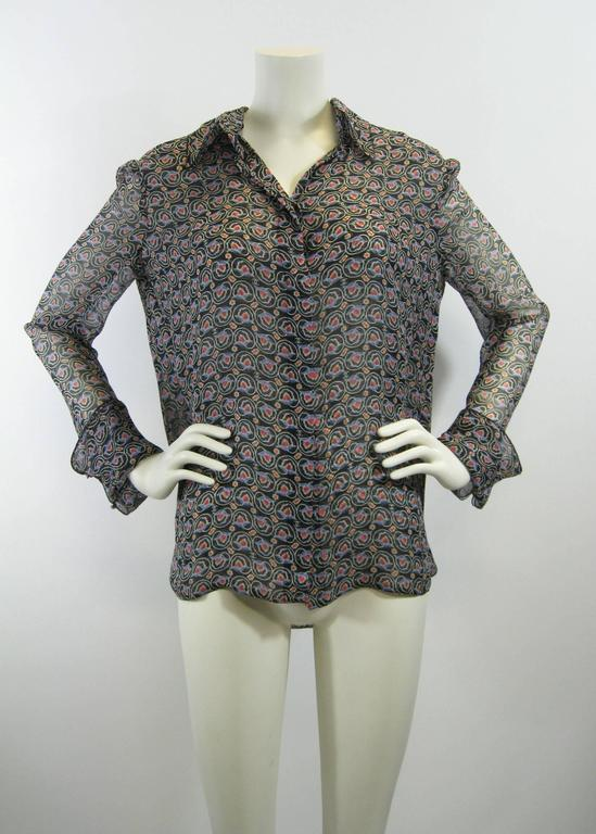 Chanel Sheer Silk Chiffon Printed Blouse For Sale 1