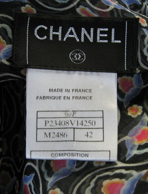 Chanel Sheer Silk Chiffon Printed Blouse For Sale 2