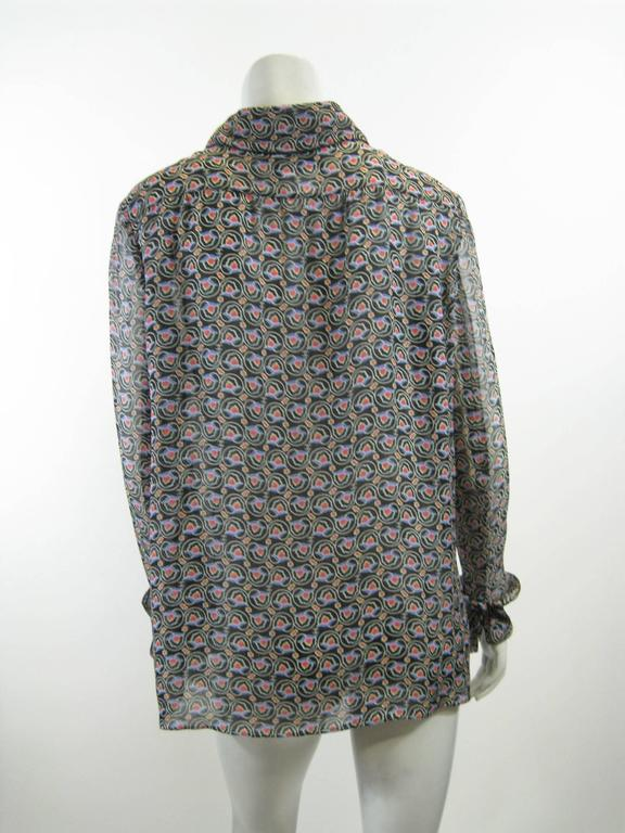 Women's Chanel Sheer Silk Chiffon Printed Blouse For Sale