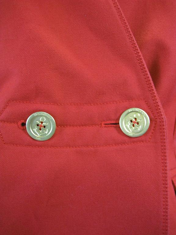 Red Yves Saint Laurent Puff Sleeve Double Breasted Jacket For Sale