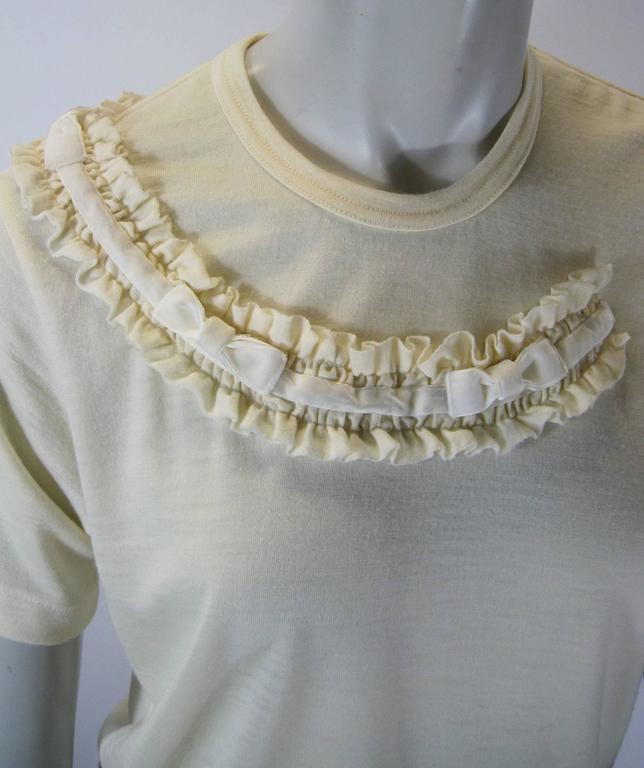 Women's Comme Des Garcons Ruffle Neck Wool T-Shirt For Sale