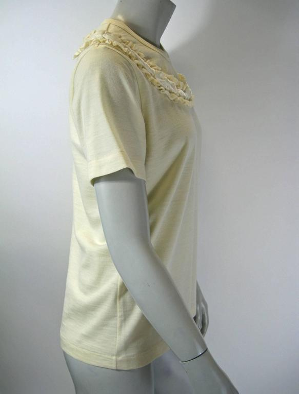 Gray Comme Des Garcons Ruffle Neck Wool T-Shirt For Sale