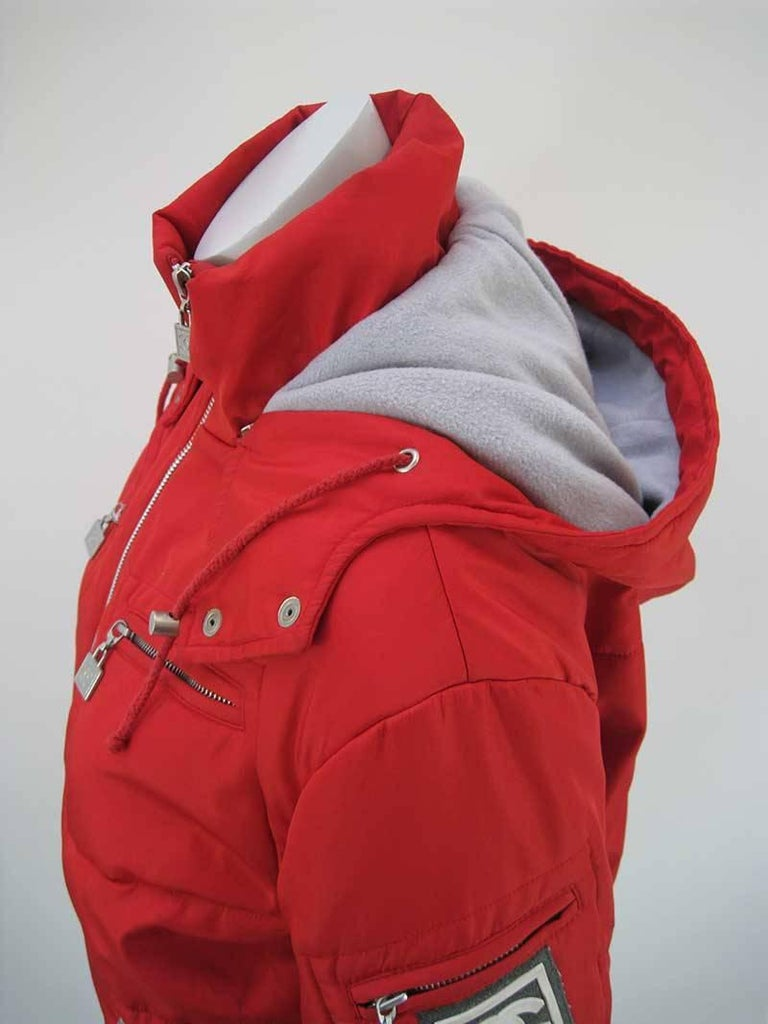Chanel Red Puffer Ski Jacket Parka For Sale 3