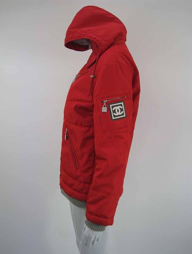 Chanel Red Puffer Ski Jacket Parka For Sale 4